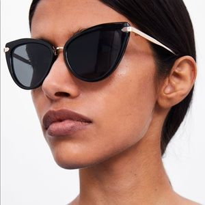 Zara black plastic and gold cat eye sunglasses